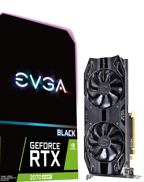 PLACA DE VIDEO EVGA GEFORCE NVIDIA RTX 2070 SUPER BLACK GAMING 8GB GDDR6